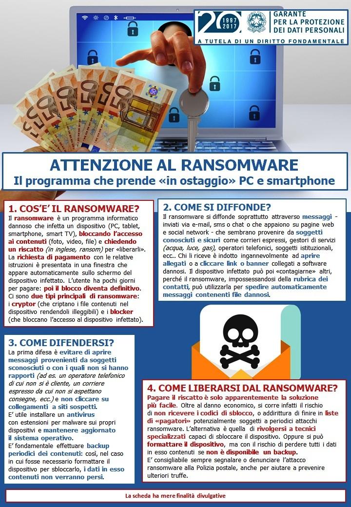 Ransomware i consigli del Garante privacy