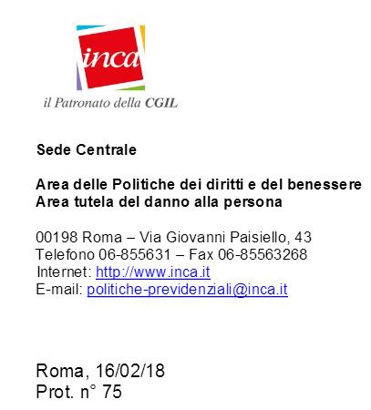 Documento Patronato INCA Lavoratori del settore della produzione di materiale rotabile ferroviario.
