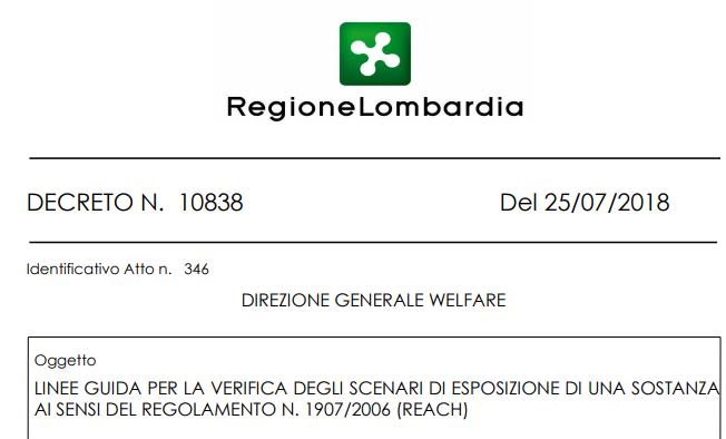 VERIFICA DEGLI SCENARI DI ESPOSIZIONE DI UNA SOSTANZA AI SENSI DEL REGOLAMENTO N. 1907/2006 (REACH)