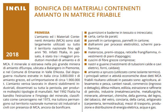 amianto BONIFICA DEI MATERIALI CONTENENTI AMIANTO IN MATRICE FRIABILE