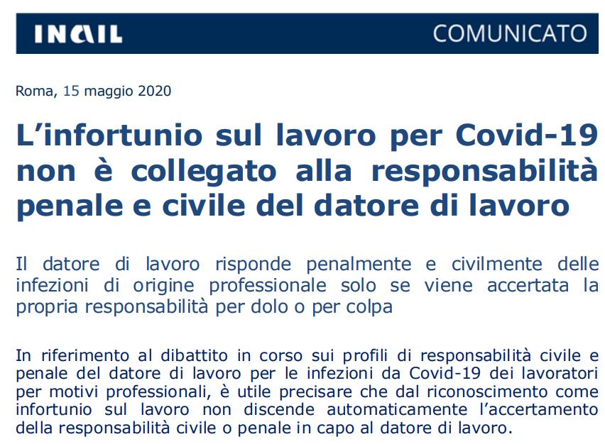L'infortunio sul lavoro per Covid-19 non è collegato alla responsabilità penale e civile del datore di lavoro