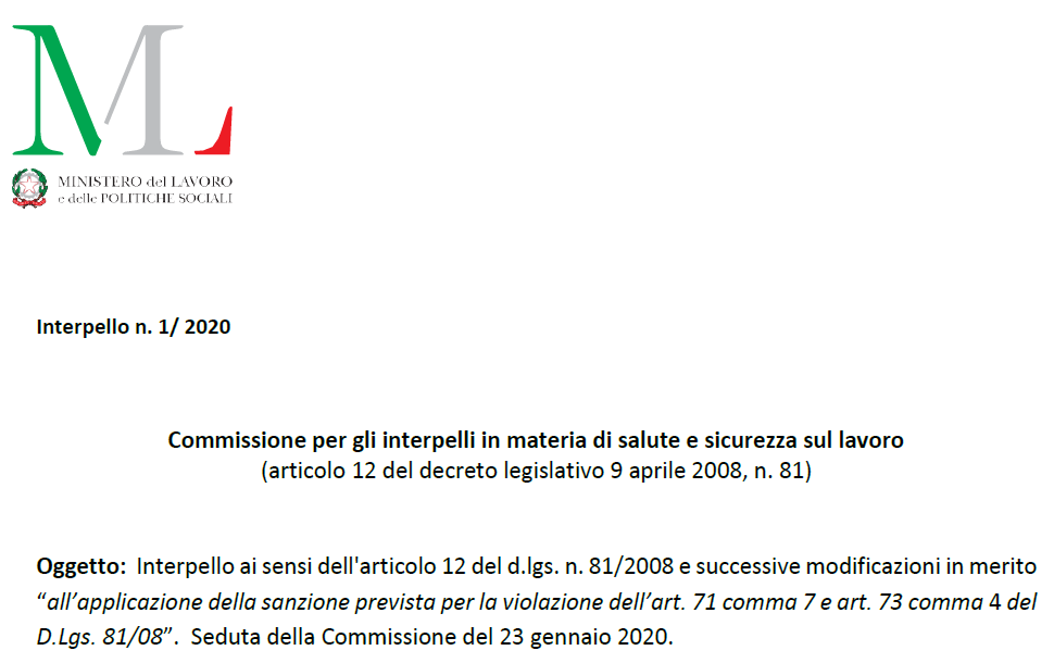 Interpello n. 1/ 2020 Sicurezza