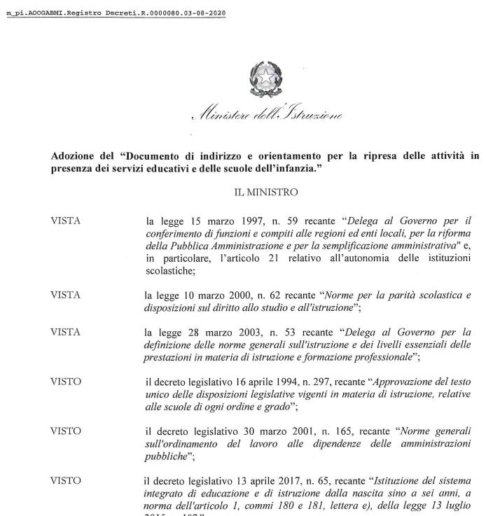 Sono state pubblicate dal Miur le linee guida per la scuola 0-6 anni approvate dalla Conferenza Unificata Stato Regioni il 31 luglio 2020.