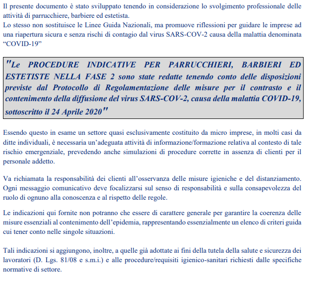 Le PROCEDURE INDICATIVE PER PARRUCCHIERI, BARBIERI ED ESTETISTE NELLA FASE 2