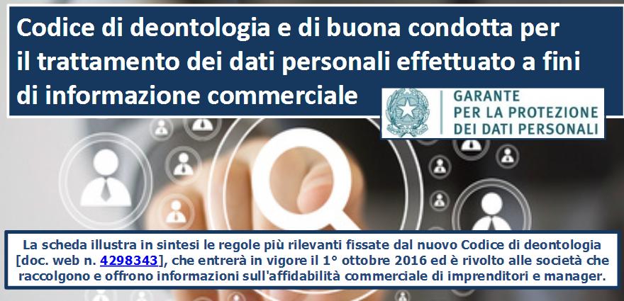 Codice deontologico Garante privacy informazioni commerciali