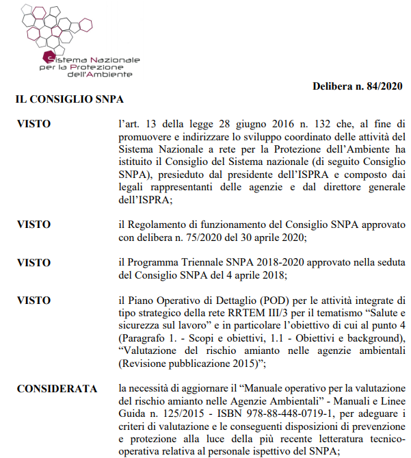 Documento di indirizzo per la valutazione del rischio amianto nel SNPA